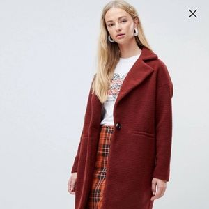 NEW LOOK Oversized Coat in Rust (US Size 6)